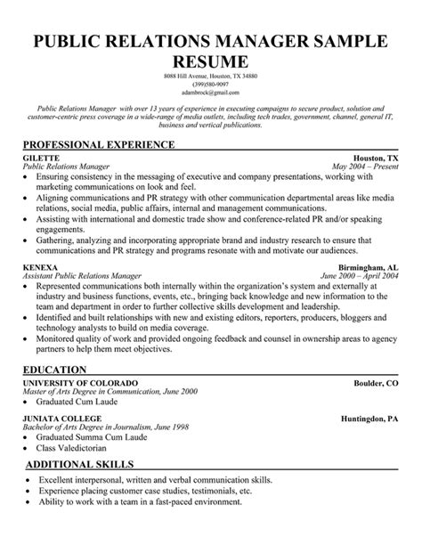 public relations sample resume resume example for public relations internship resume