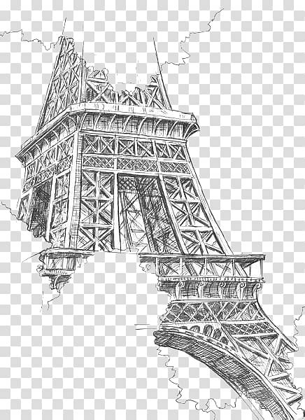 eiffel tower drawing painting sketch