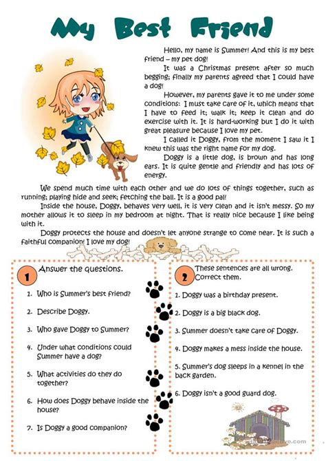 friend reading worksheet  esl printable