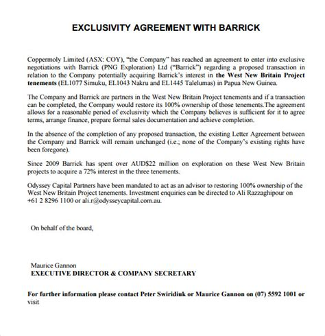 exclusivity contract template 7 sle exclusivity agreement templates sle templates