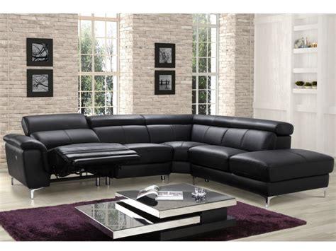 canapé d angle noir cuir canapé angle relax électrique en cuir noir sitia