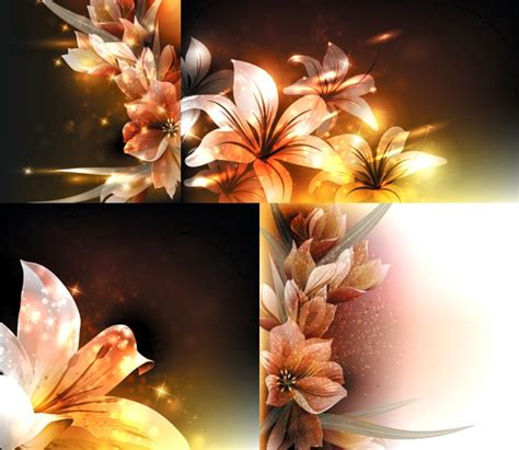 fantasy flower beautiful background set vector vector