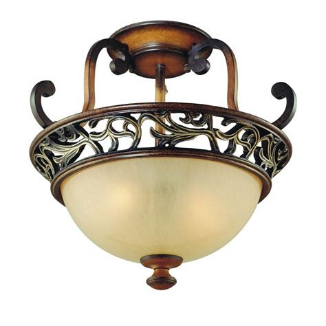 home depot flush mount ceiling light fixtures hton bay caffe patina 2 light semi flush mount light