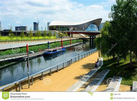 Elizabeth River Boat Landing And Park by Canal Boat And Olympic Aquatic Building Editorial