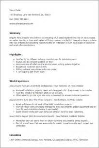 Hvac Installer Resume Exles hvac installer resumes exles windthefor198715