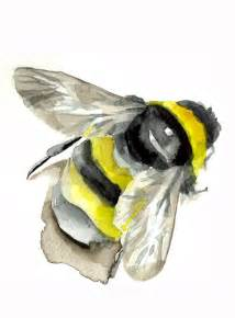 Bumble Bee Watercolor Painting