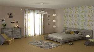 decoration chambre papier peint et peinture visuel 1 With deco papier peint chambre