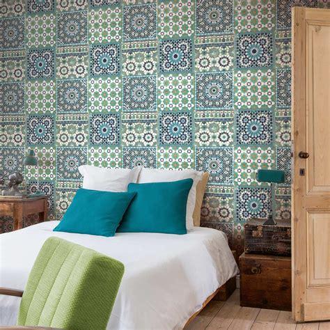 papier peint chambre adulte chantemur papier peint intissé morrocan mosaik bleu leroy merlin