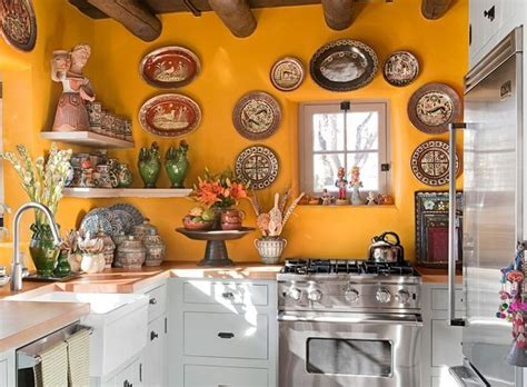 Mexican Kitchen Decor With Beautiful Backsplash Paint
