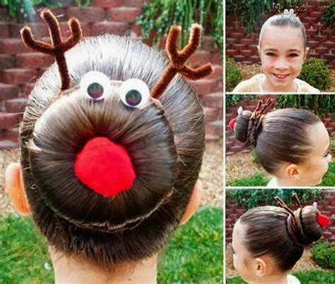 pretty hairstyle  christmas rudolph bun diy alldaychic