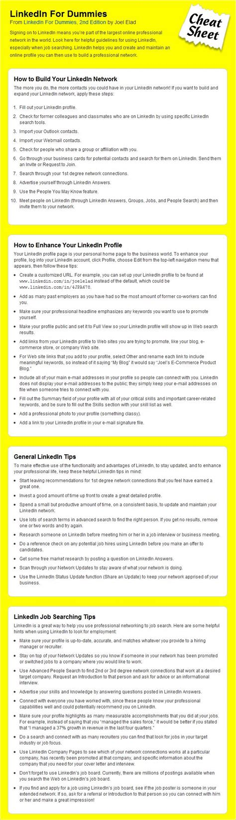 linkedin sheet for dummies business