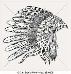 Chief clipart headdress - Pencil and in color chief ...