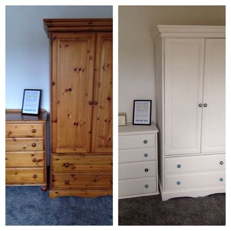 White And Wood Wardrobe by Pine Wardrobe And Drawers Upcycled Using 2 Coats Of Wood