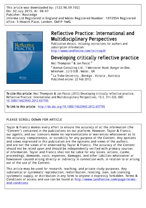 developing critically reflective practice