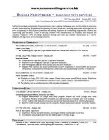 resume for a newspaper writer television reporter resume sle resume writing service
