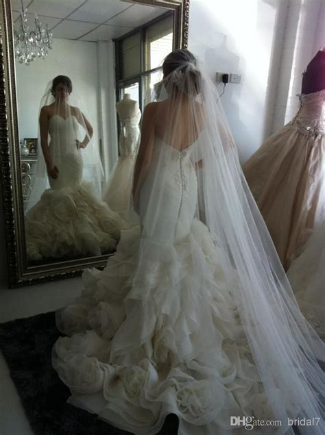 Wedding Veils Simple Long Tulle Veils With Blusher And