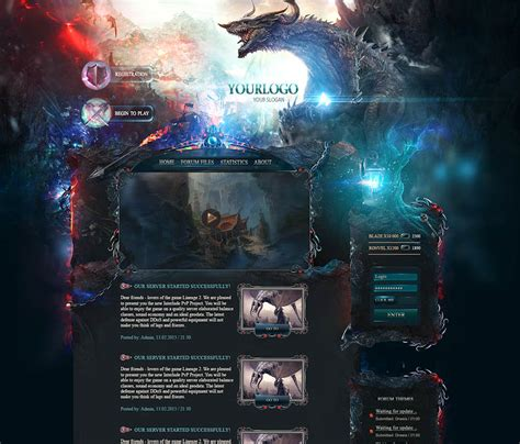 website templates fantasy dragon game web template