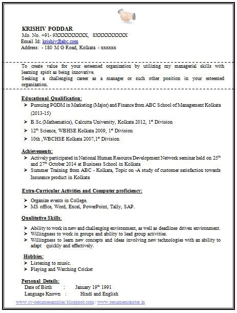19350 professional fresher resume 100 resume format for experienced sle template of a