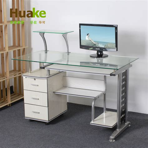 glass table computer desk small long 120 60 high 74cm wide white tempered glass