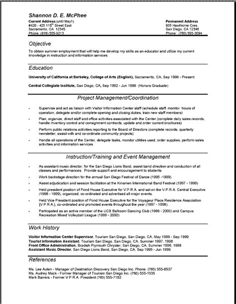 Resume Layout Template by Objective Education Project Management Coordination