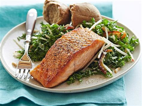 Panseared Salmon With Kale And Apple Salad Recipe Food