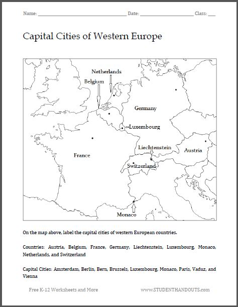 capital cities of western europe map worksheet free to