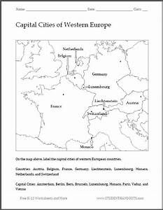 Capital Cities of Western Europe Map Worksheet - Free to ...