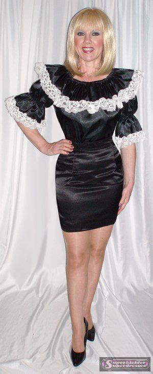 Black Satin Blouse With White Lace Trim And Short Black