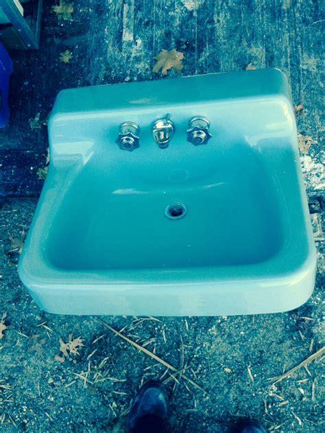 american standard cast iron blue wall mount sink