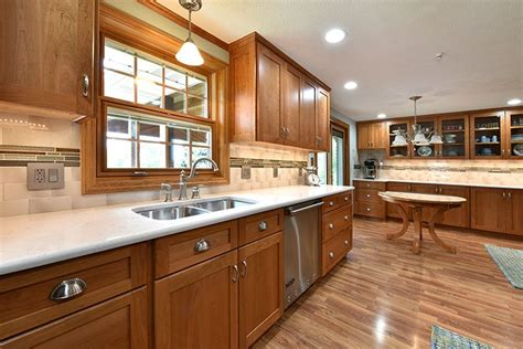 traditional kitchen  natural cherry cabinets quartz