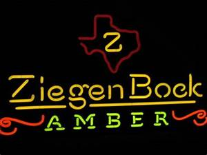 ZiegenBock Amber Ale Texas State Beer Neon Bar Light Sign