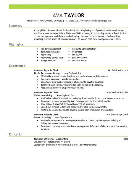 accounts payable resume format in india best accounts payable specialist resume exle livecareer