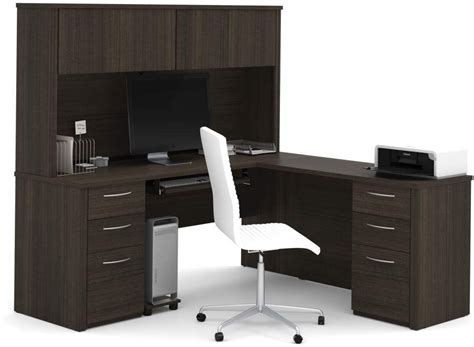 bestar embassy chocolate 71 quot l shaped desk with hutch