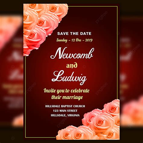 wedding invitation card template psd  fresh orange