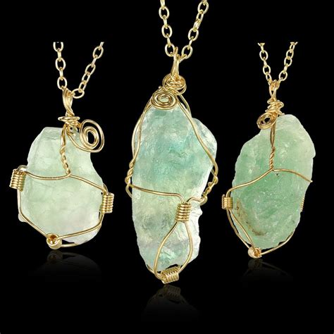handmade colorful wire wrapped raw natural stone pendant