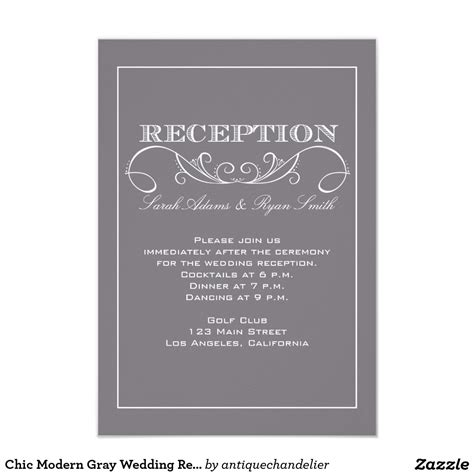 wedding reception entrance wording reception invitations chic modern gray wedding reception invitation reception invitations and