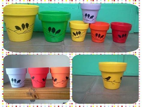 Pot Plants For Patios by Macetas Pintadas A Mano Modelo Sombras Pajaritos Macetas