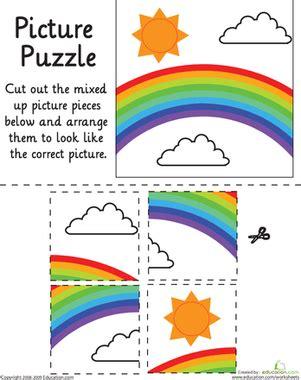 rainbow picture puzzle worksheet education com