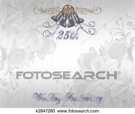 Stock Illustrations of 25th Wedding Anniversary Invitation