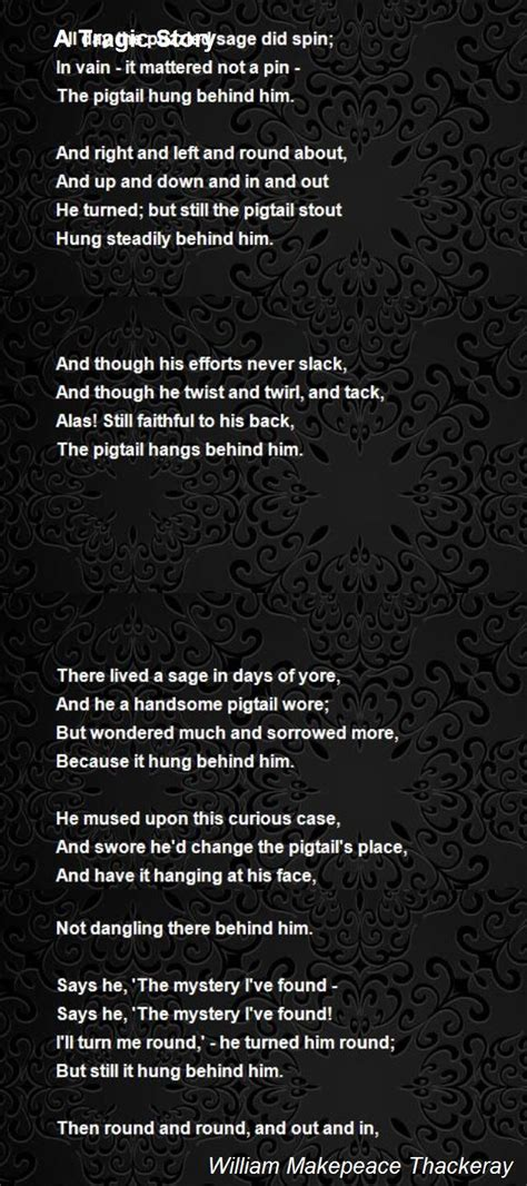 tragic story poem  william makepeace thackeray poem