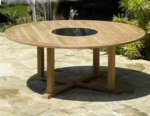 Round teak and granite garden table bermuda for Garden table