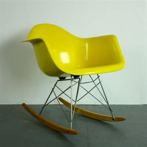 eames herman miller rar rocking chair in canary yellow