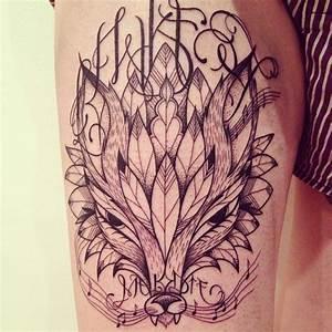 Tatouage Loup Celtique : tatouage loup plume graphique inkage ~ Farleysfitness.com Idées de Décoration