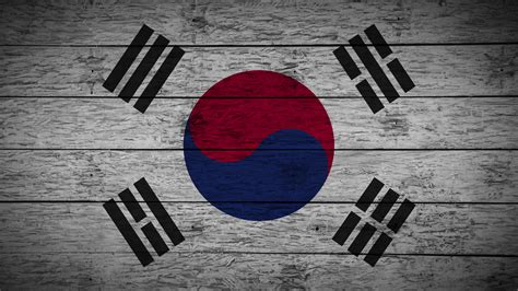 Painting Flag Of South Korea On Old Wood Boards With Four