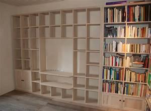 Etagere Pour Tv : image modele bibliotheque en bois ~ Teatrodelosmanantiales.com Idées de Décoration