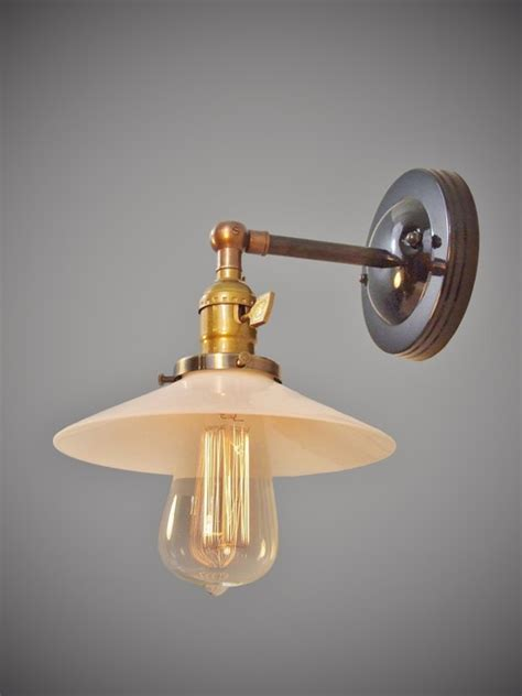 industrial swivel sconce machine age l with glass