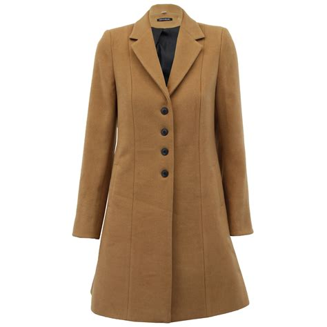Ladies Coat Womens Jacket Wool Look Military Long Button Warm Winter Lined New | eBay