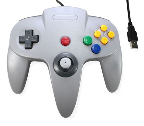 1 New Usb To Pcmac N64 Games Grey Classic Gamepad