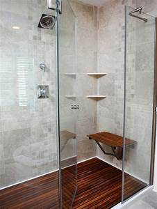 Homey curbless shower wood floor for teak mat and tile for Fall in shower floor