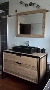 Meuble Salle De Bain Style Industriel : meuble salle de bain en bois de r cup ration et m tal au style industriel r alisation sur ~ Melissatoandfro.com Idées de Décoration